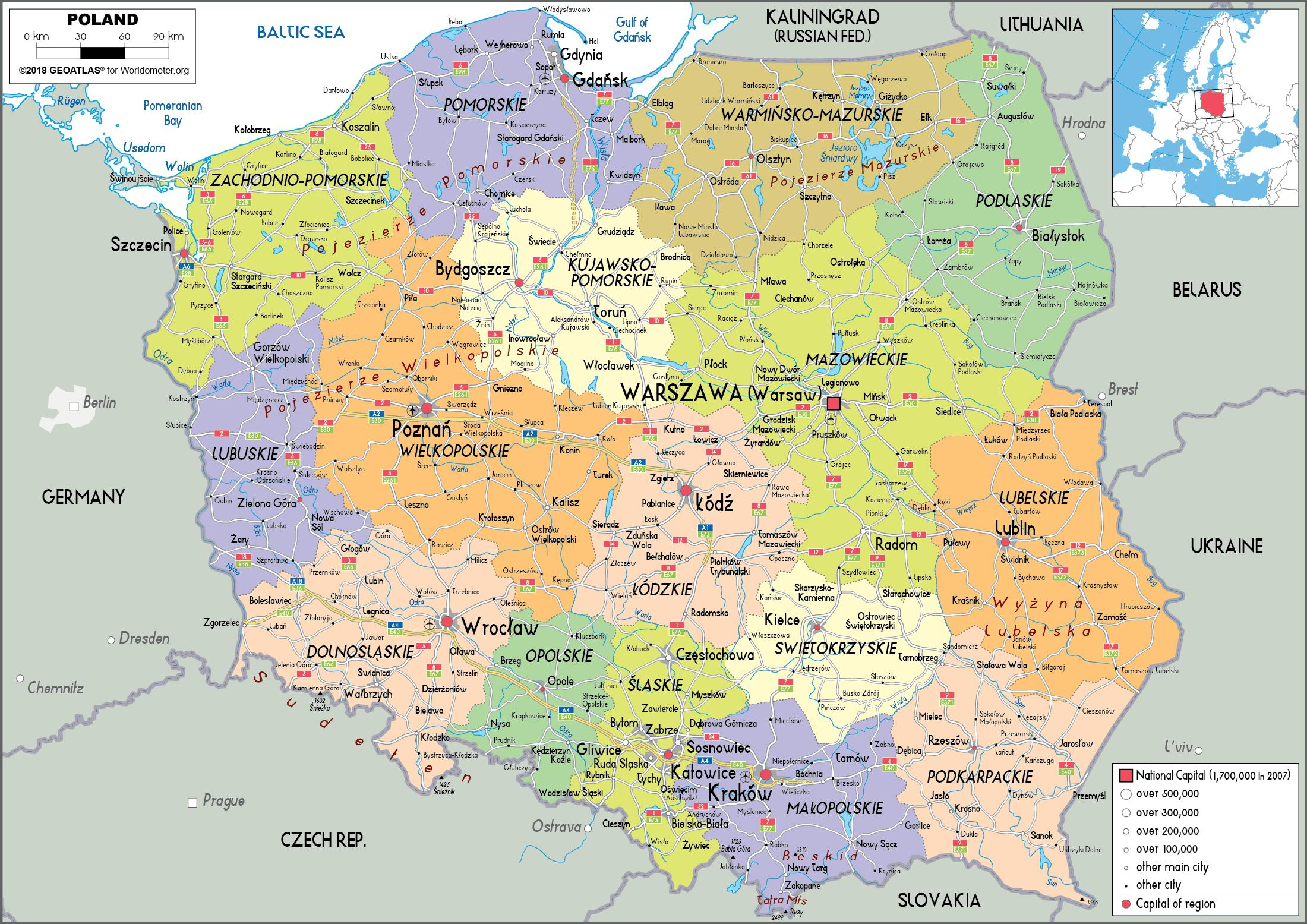 Map of Poland and surrounding countries - Poland and surrounding ...