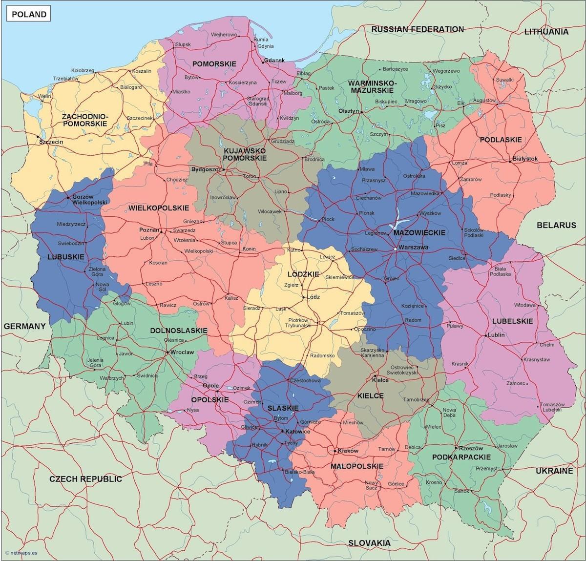 Poland political map - Map of Poland political (Eastern ...