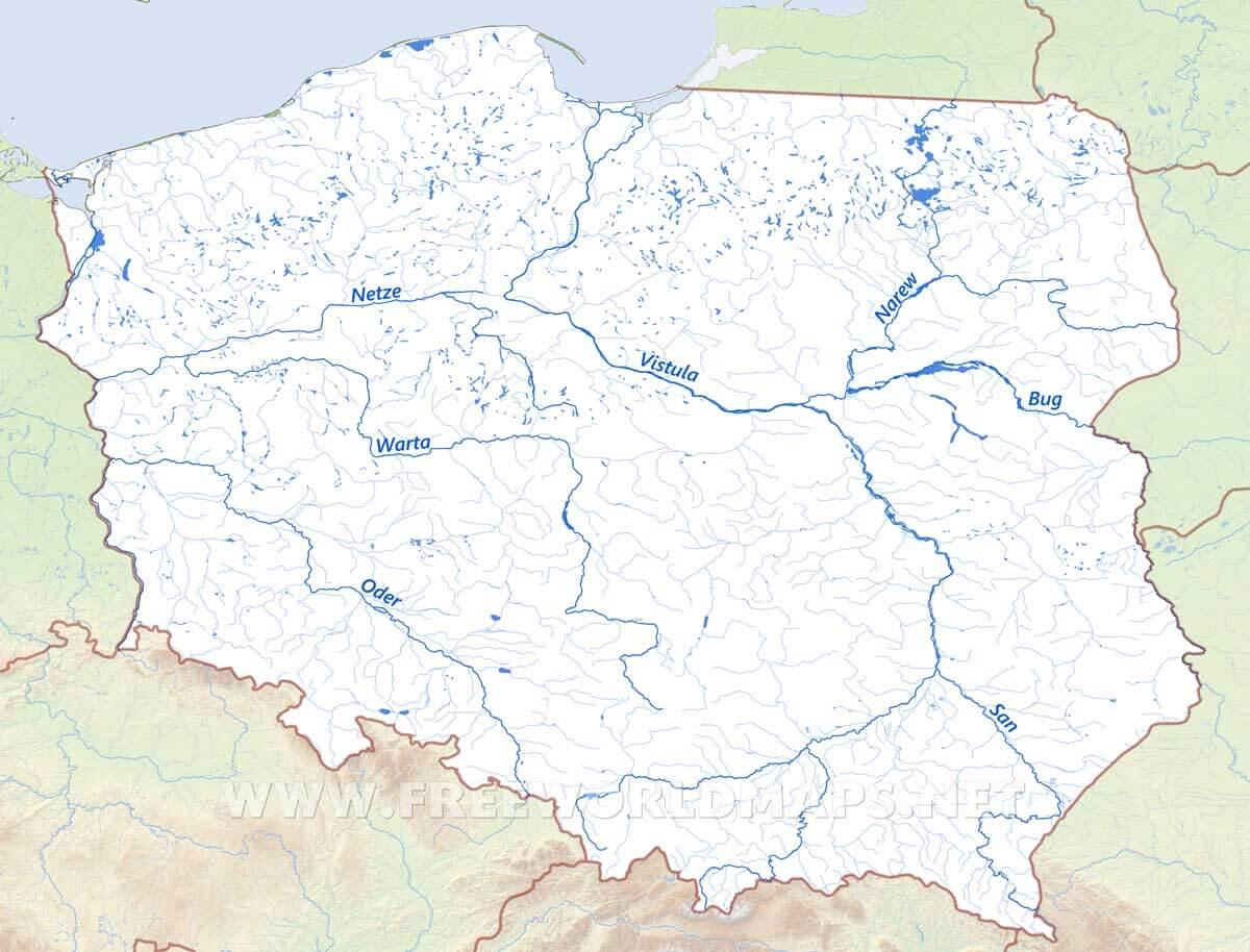 Rivers Map Europe.Poland Rivers Map Map Of Poland Rivers Eastern Europe Europe
