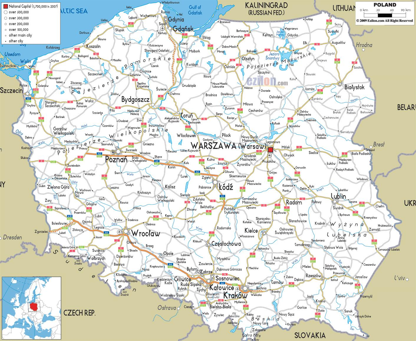 Poland Road Map Poland Map Road Eastern Europe Europe
