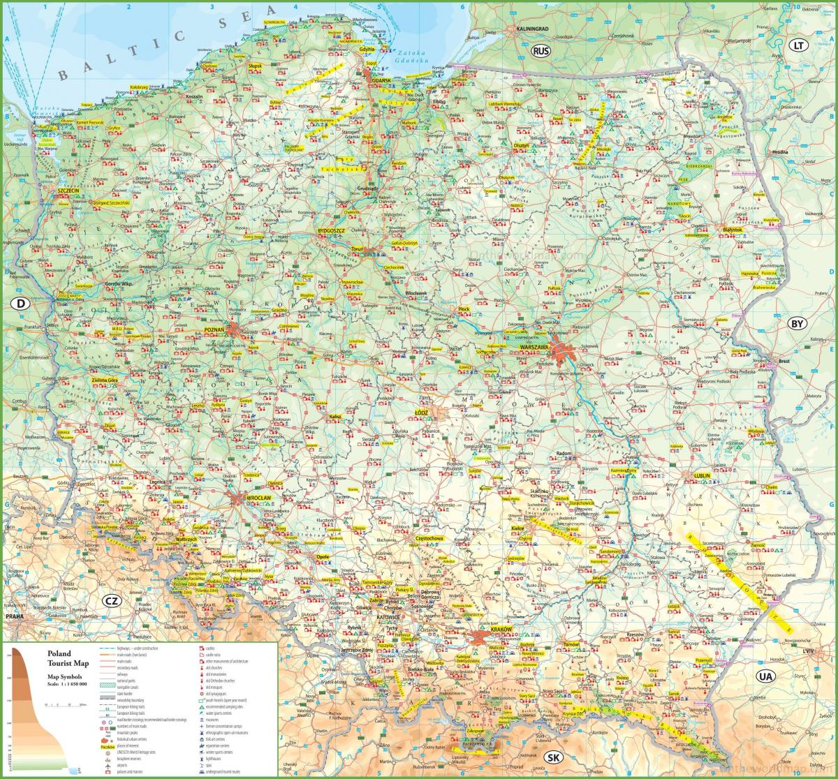 Poland attractions map