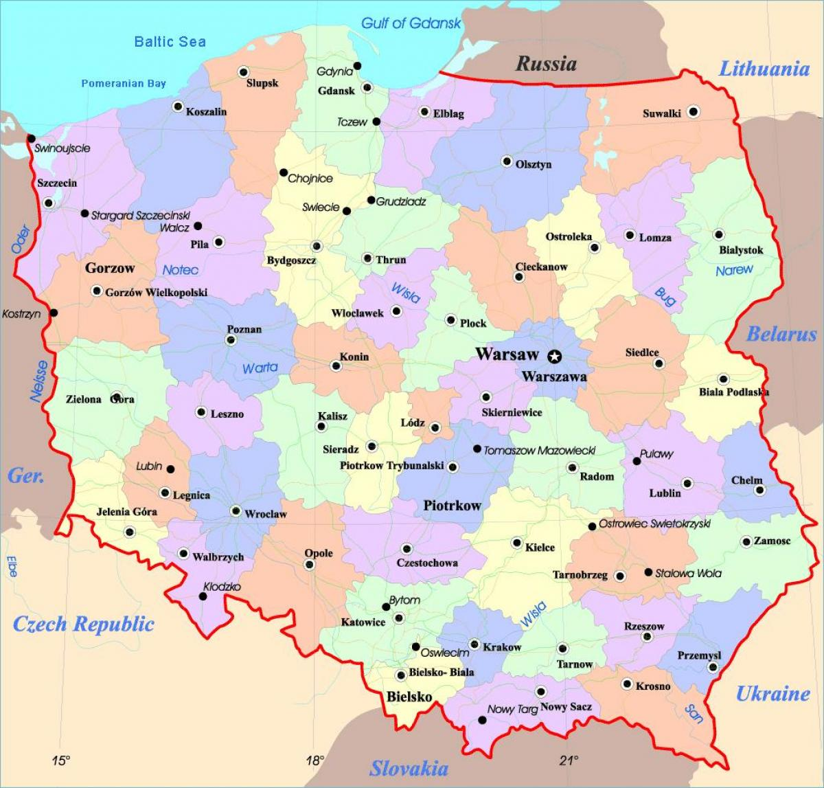 map of Poland with cities
