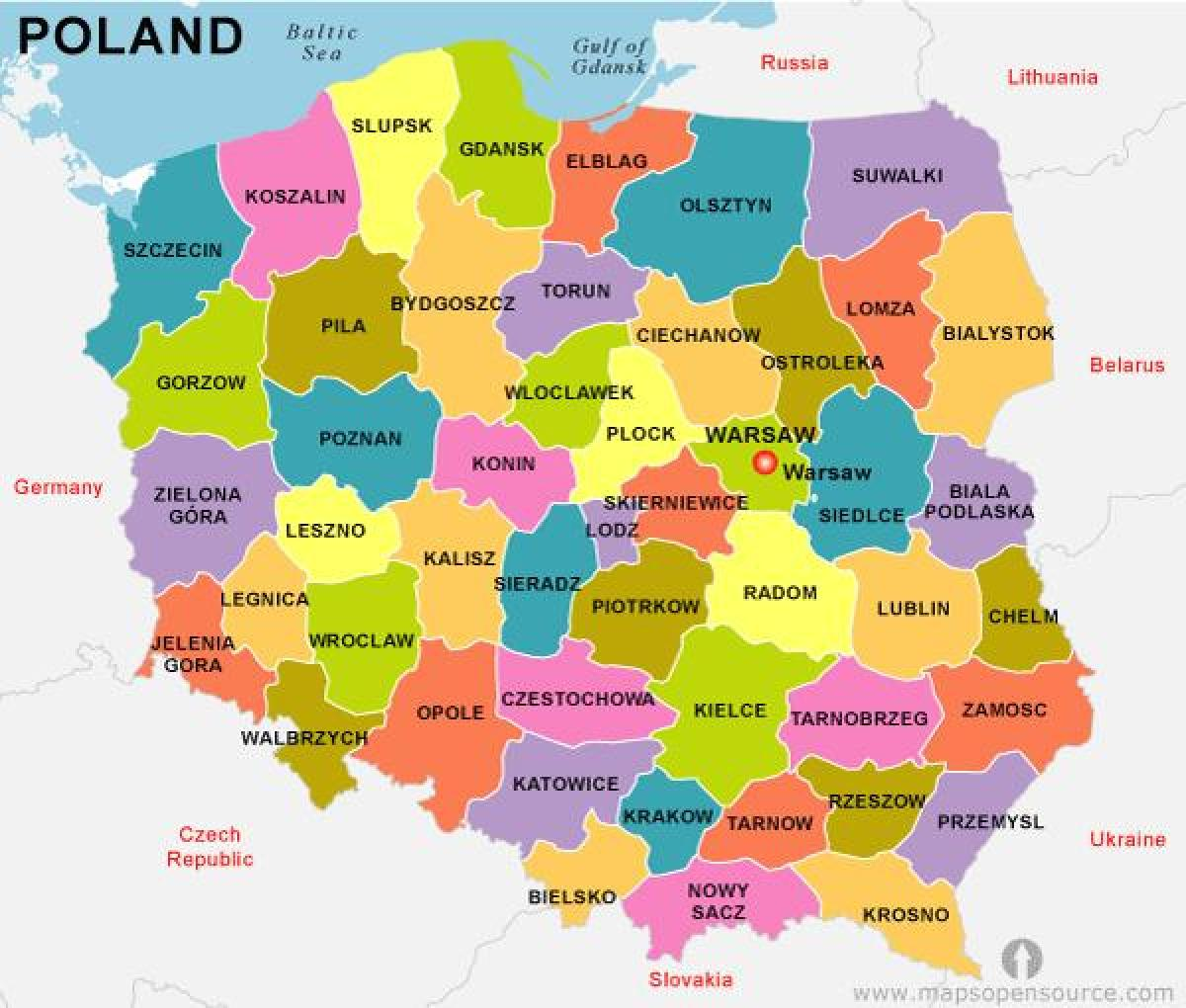 map of Poland country