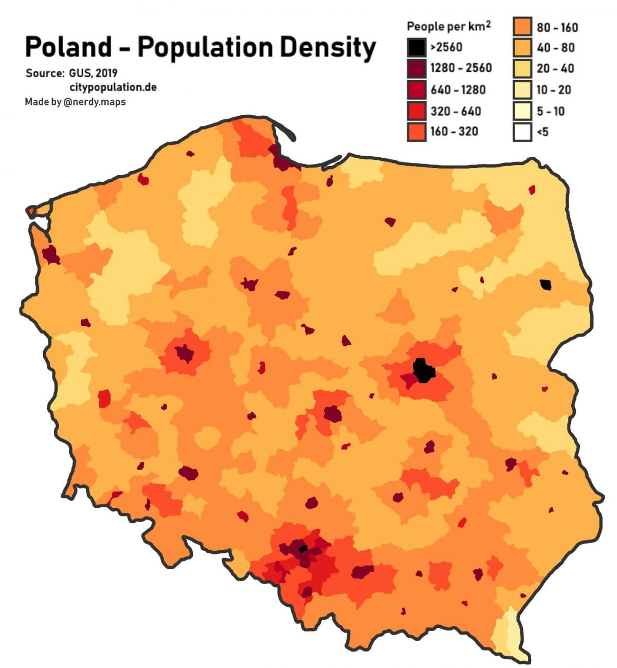 Cartina 1500.Poland Population Map Map Of Poland Population Eastern Europe Europe