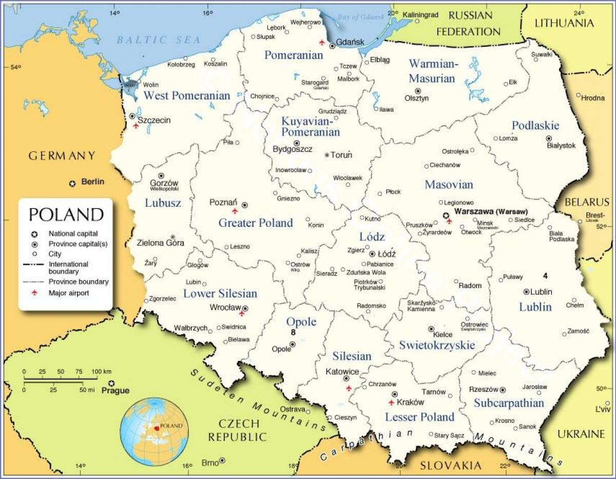 map of Poland regions
