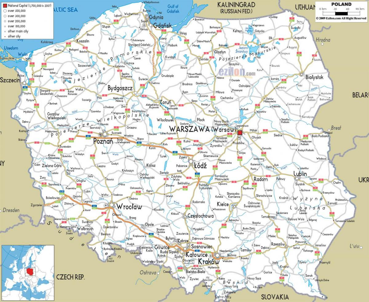 map of Poland roads