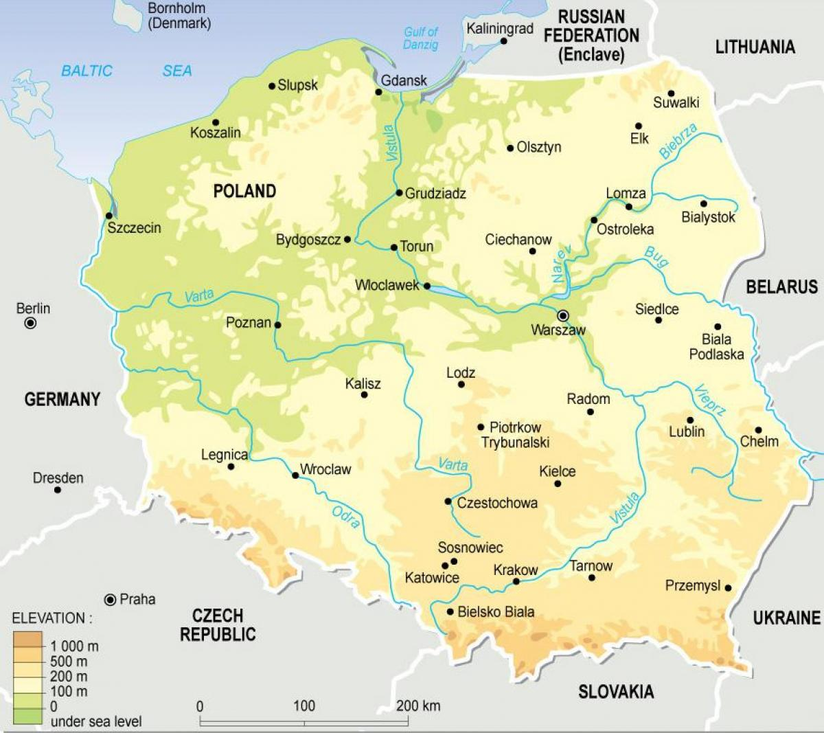 map of Poland topographic