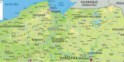 Map of northern Poland